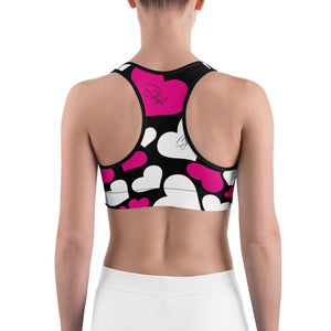 Pink White Hearts Sports bra - Saltgirl Clothing - Women's Saltwater Fishing Apparel and Swimwear