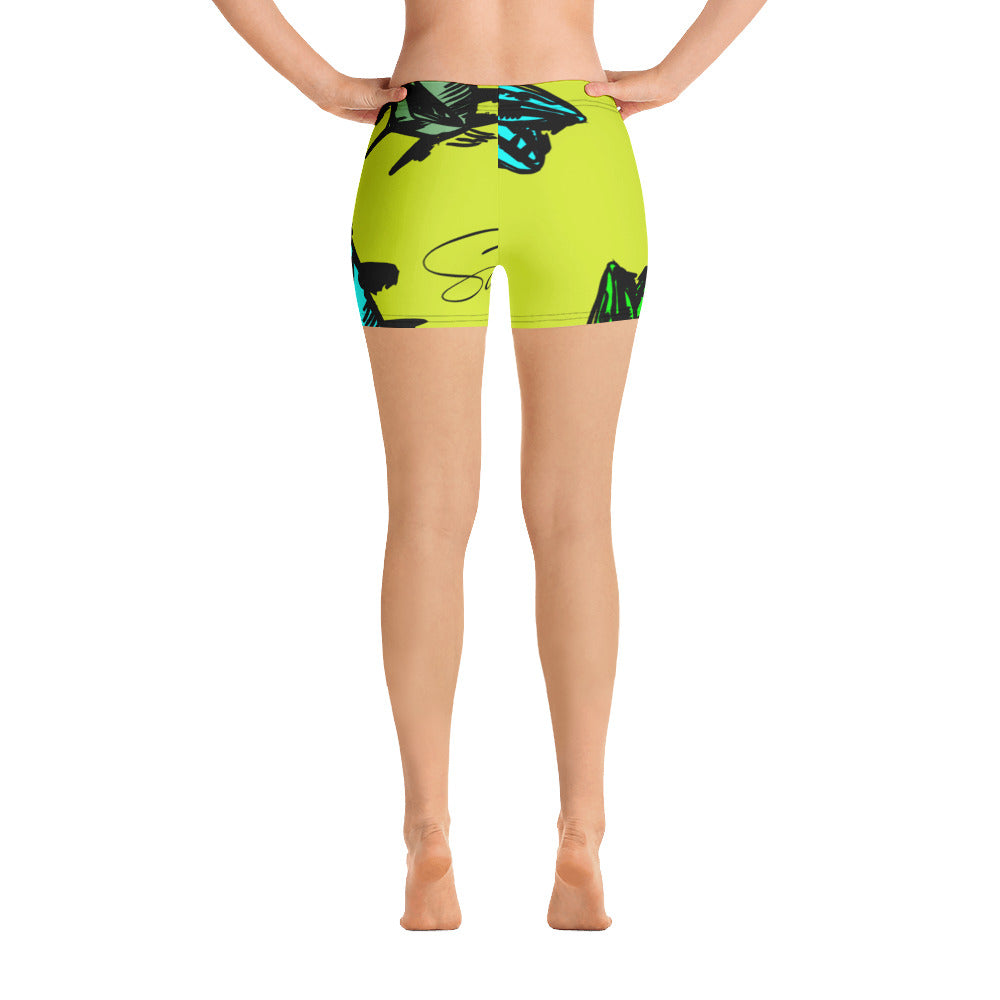 Chartreuse Barracuda Print Shorts - Saltgirl Clothing - Women's Saltwater Fishing Apparel and Swimwear