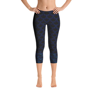 Dark Blue Fish Scale Capris - Saltgirl Clothing - Women's Saltwater Fishing Apparel and Swimwear