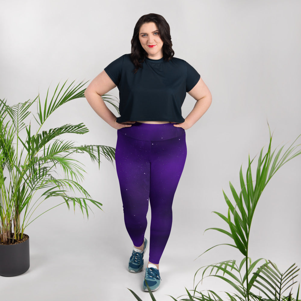 Purple Sky  Plus Size Leggings - Saltgirl Clothing - Women's Saltwater Fishing Apparel and Swimwear