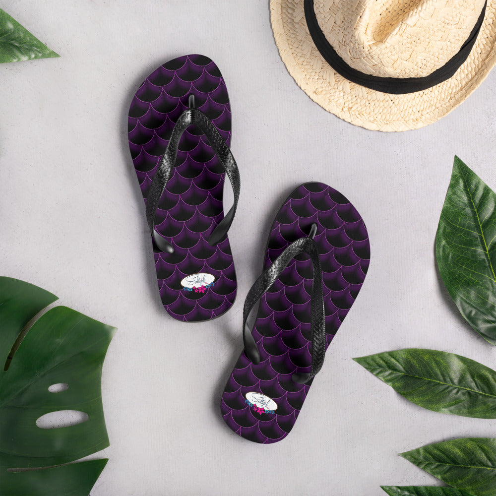 Dark Pink Fish Scale Flip-Flops - Saltgirl Clothing - Women's Saltwater Fishing Apparel and Swimwear