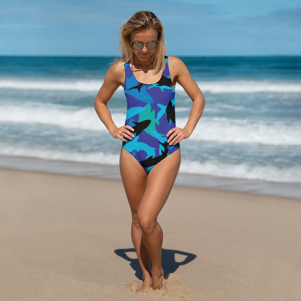 Shark Camo One-Piece - Saltgirl Clothing - Women's Saltwater Fishing Apparel and Swimwear