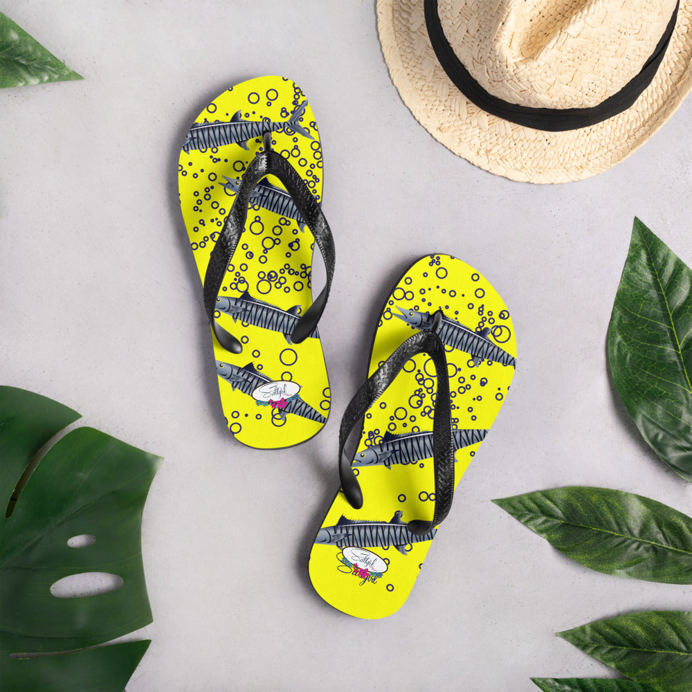 Yellow King Fish Flip-Flops - Saltgirl Clothing - Women's Saltwater Fishing Apparel and Swimwear