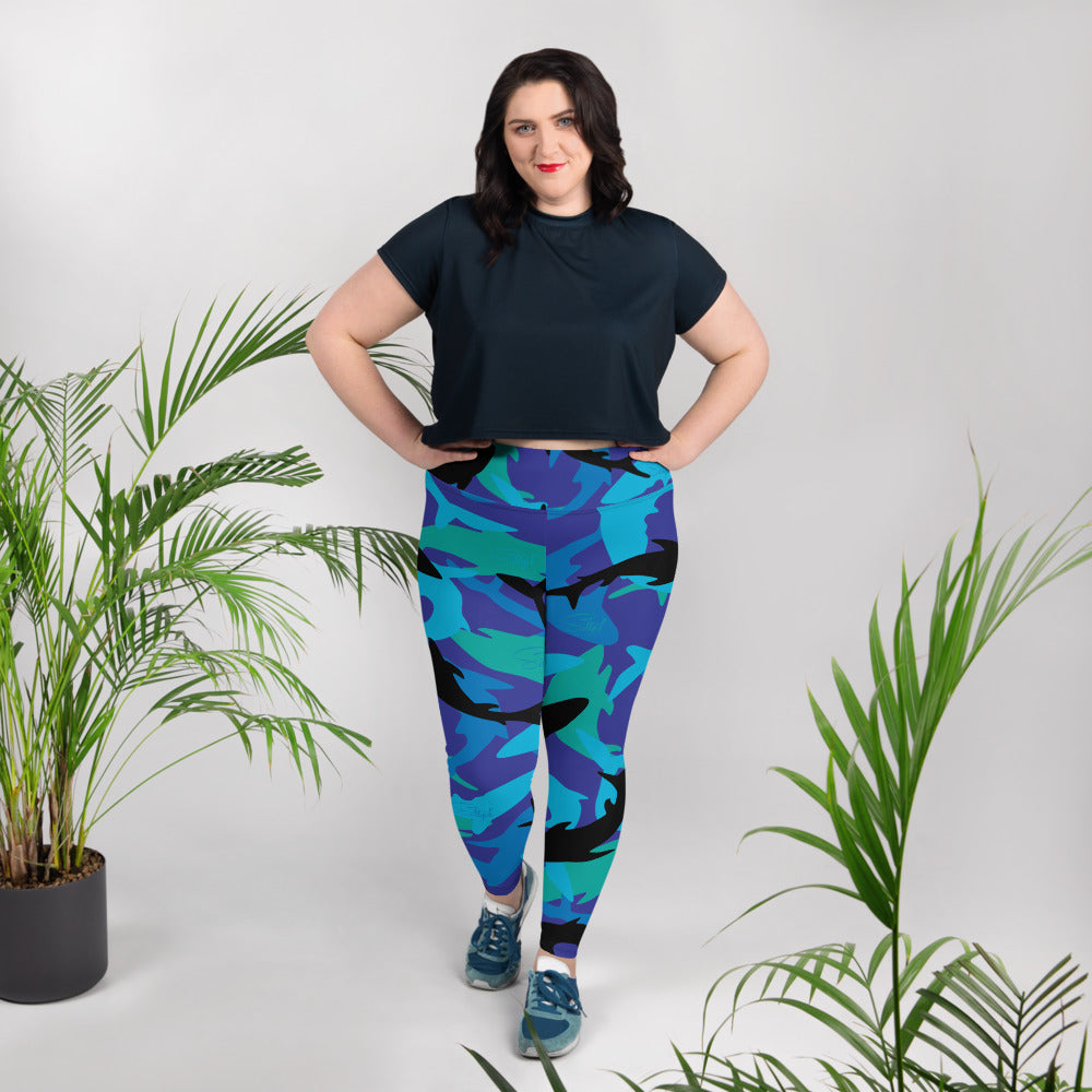 Shark Camo  Plus Size Leggings - Saltgirl Clothing - Women's Saltwater Fishing Apparel and Swimwear