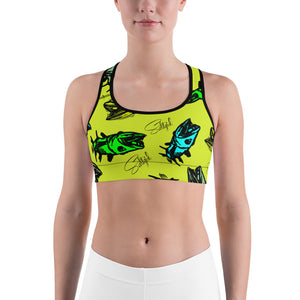 Chartreuse Barracuda Sports bra - Saltgirl Clothing - Women's Saltwater Fishing Apparel and Swimwear