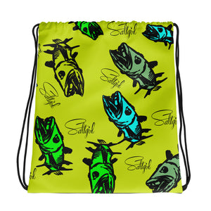 Chartreuse Barracuda Drawstring Bag - Saltgirl Clothing - Women's Saltwater Fishing Apparel and Swimwear