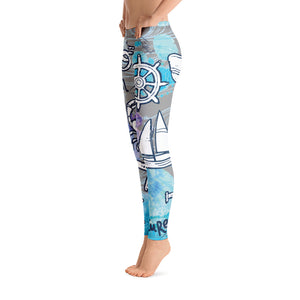 Nautical Saltgirl Adventure  Print Leggings - Saltgirl Clothing - Women's Saltwater Fishing Apparel and Swimwear