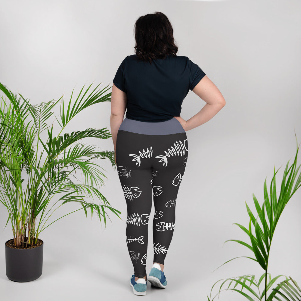 Black White Fishbone Plus Size Leggings - Saltgirl Clothing - Women's Saltwater Fishing Apparel and Swimwear