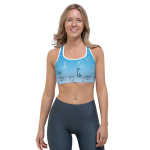 Sky Blue Fish Hook Sports Bra