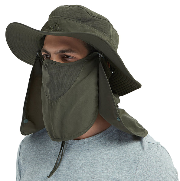 653e6f0e44234 DDYOUTDOOR Vvip 07-281 Fashion Summer Outdoor Sun Protection Fishing Cap  Neck Face Flap Hat Wide Brim (army green)