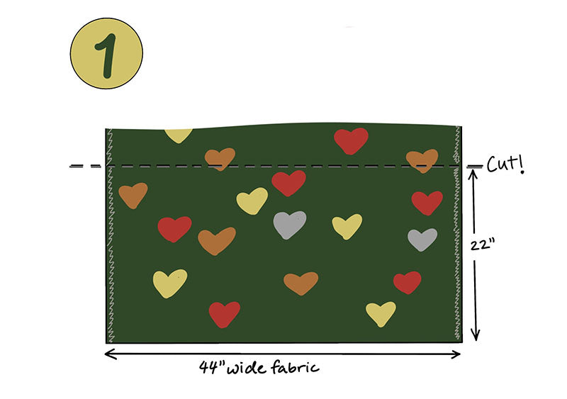 Cutting diagram for pillowcase using one-way fabric