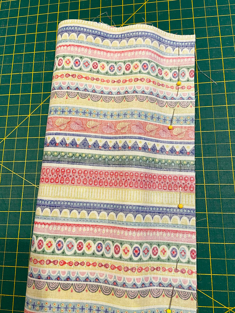 The pinned, wrapped burrito ready to sew