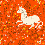 Heather Ross 20th Anniversary Collection - Orange Unicorns