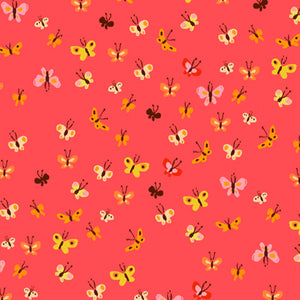 Heather Ross 20th Anniversary Collection - Coral Butterflies