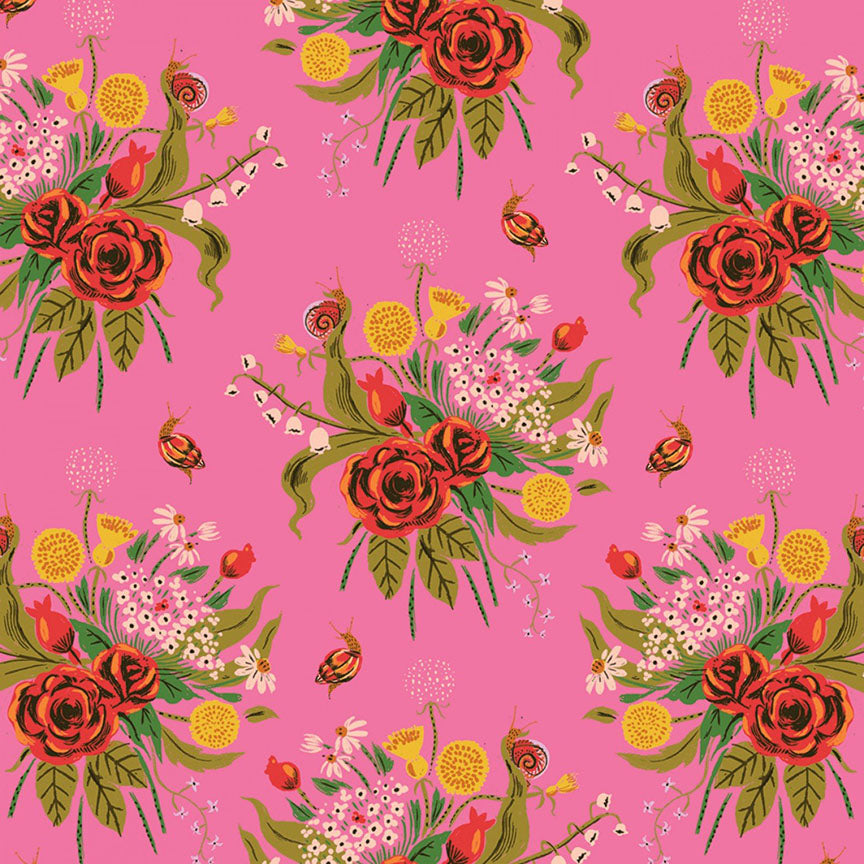 Heather Ross 20th Anniversary Collection - Pink Wild Flowers