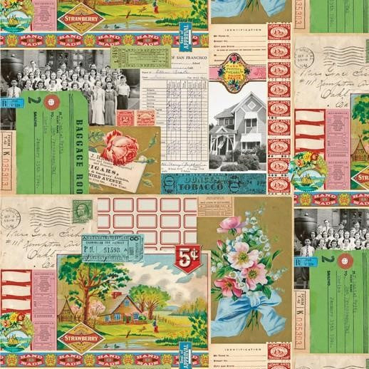 Flea Market Mix Ephemera Collage by Cathe Holden for Moda