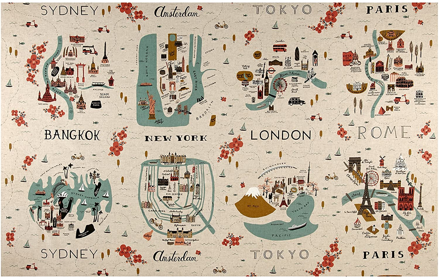 City Maps CANVAS in Natural, Les Fleurs Collection by Rifle Paper Co. for Cotton + Steel