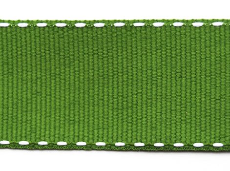 Green Grosgrain Ribbon with contrast stitching (25mm)