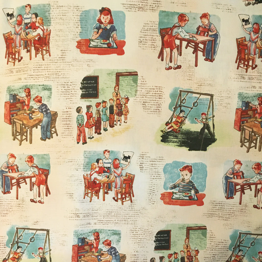 Retro school scenes in American Vintage by Windham Fabrics, available at Studio Fabric Shop, a Canadian online fabric store