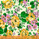 Bright Big Roses in Cream by Annabel Wrigley for Windham Fabrics