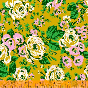 Bright Big Roses in Olive by Annabel Wrigley for Windham Fabrics