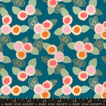 Embroidered Floral in Teal by Sarah Watts for Ruby Star Society
