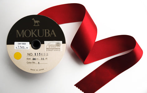 Wide Red Satin Ribbon from Mokuba (36mm)