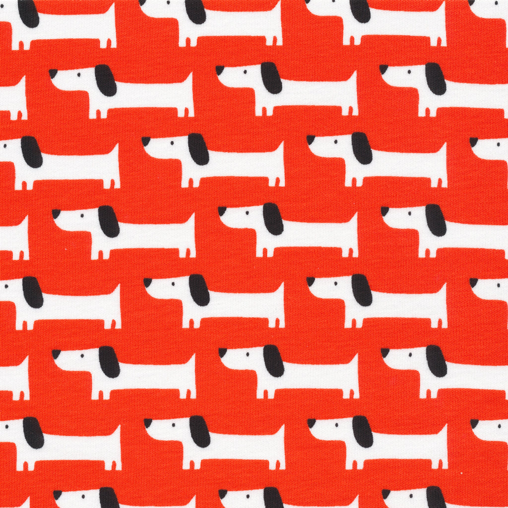 Red Rover Dogs in Red (Organic Cotton Interlock Knit) by Cloud 9 Fabrics
