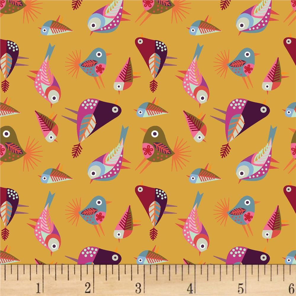 Stitch Birds Tossed in Yellow by Clothworks