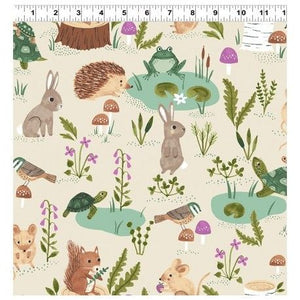 Woodland Wander in Light Khaki by Clothworks