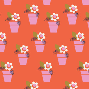 Amelia Flowerpot fabric in orange by Dashwood Studio, available at Studio Fabric Shop, a Canadian online fabric store