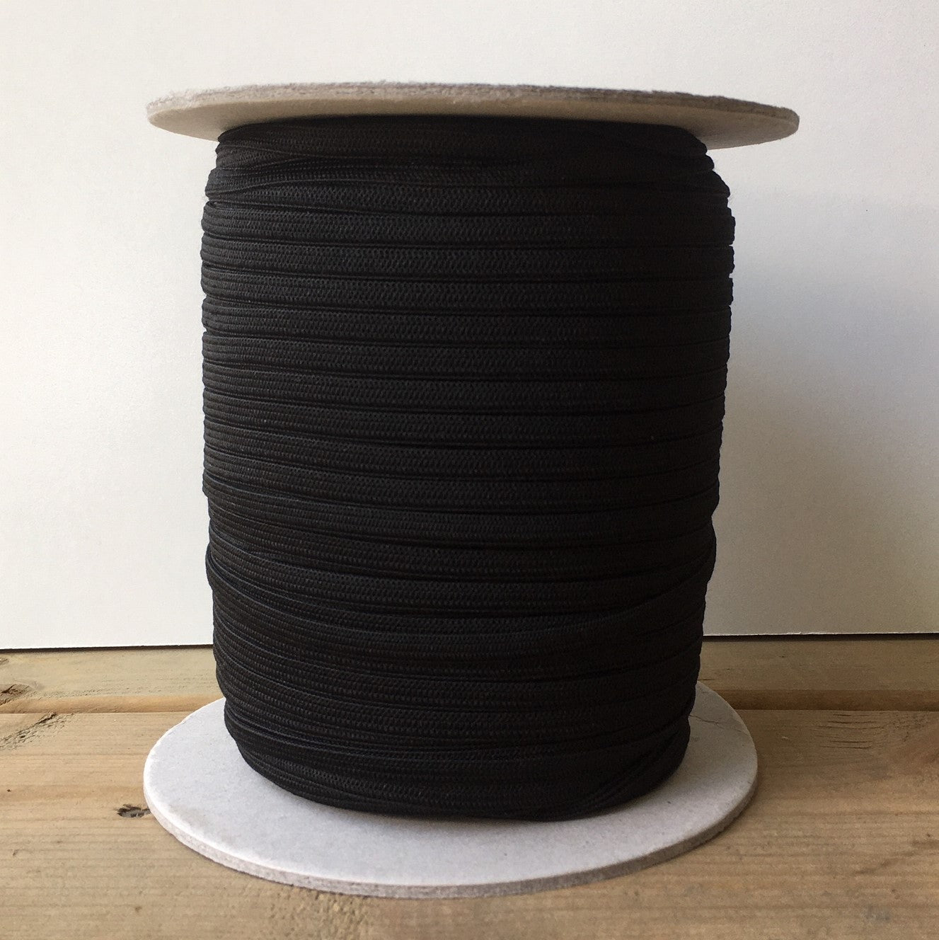 "Black 1/4"" (6 mm) knitted elastic"