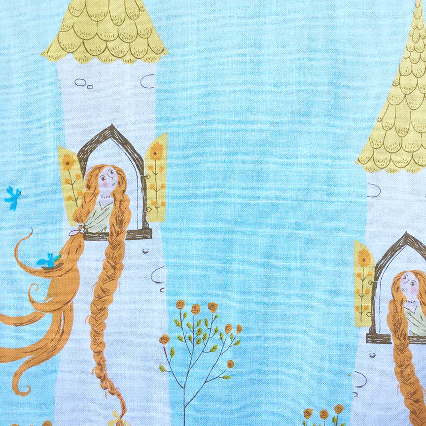 Rapunzel Tower on Light Blue by Heather Ross