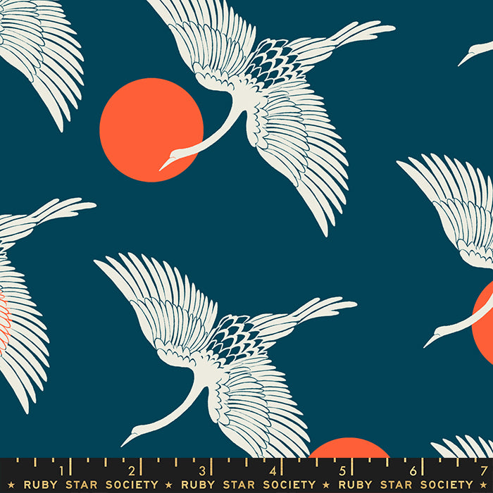 Egrets in Peacock by Sarah Watts for Ruby Star Society