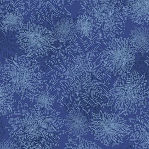 Floral Elements in Lapis Lazuli by Art Gallery Fabrics