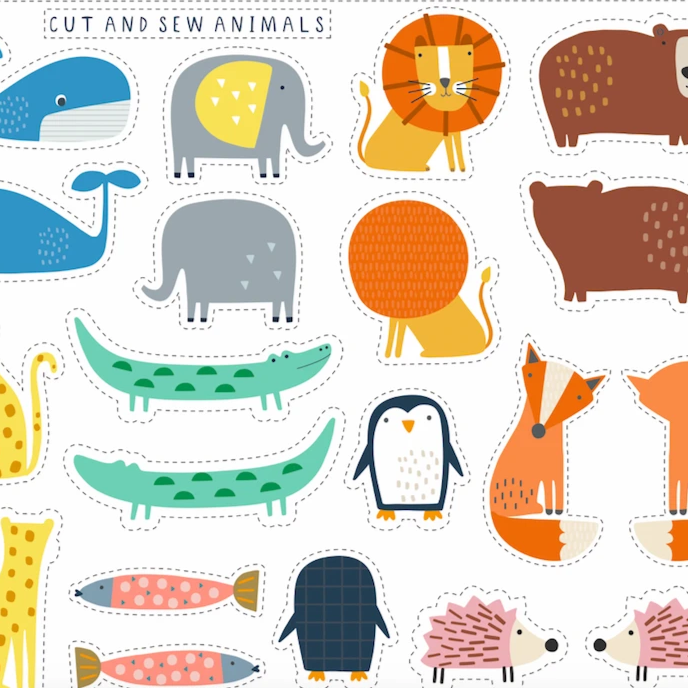 Cut and Sew Animals Panel by Dashwood Studio