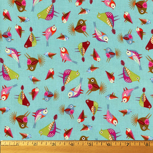 Stitch Birds Tossed in Blue by Clothworks