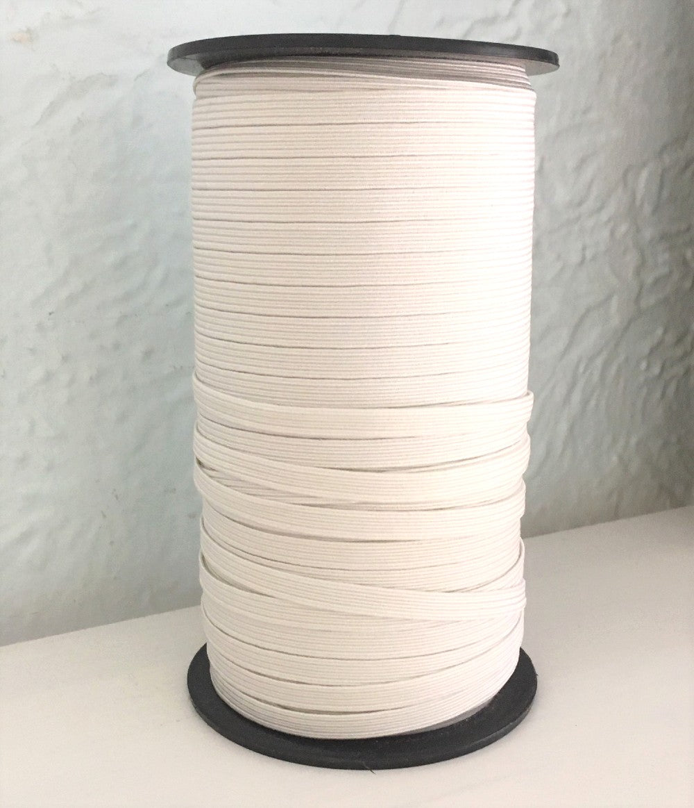 "White 1/4"" (6 mm) knitted elastic"