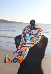 'Orange Birds Basking' in Cotton/Silk Scarf