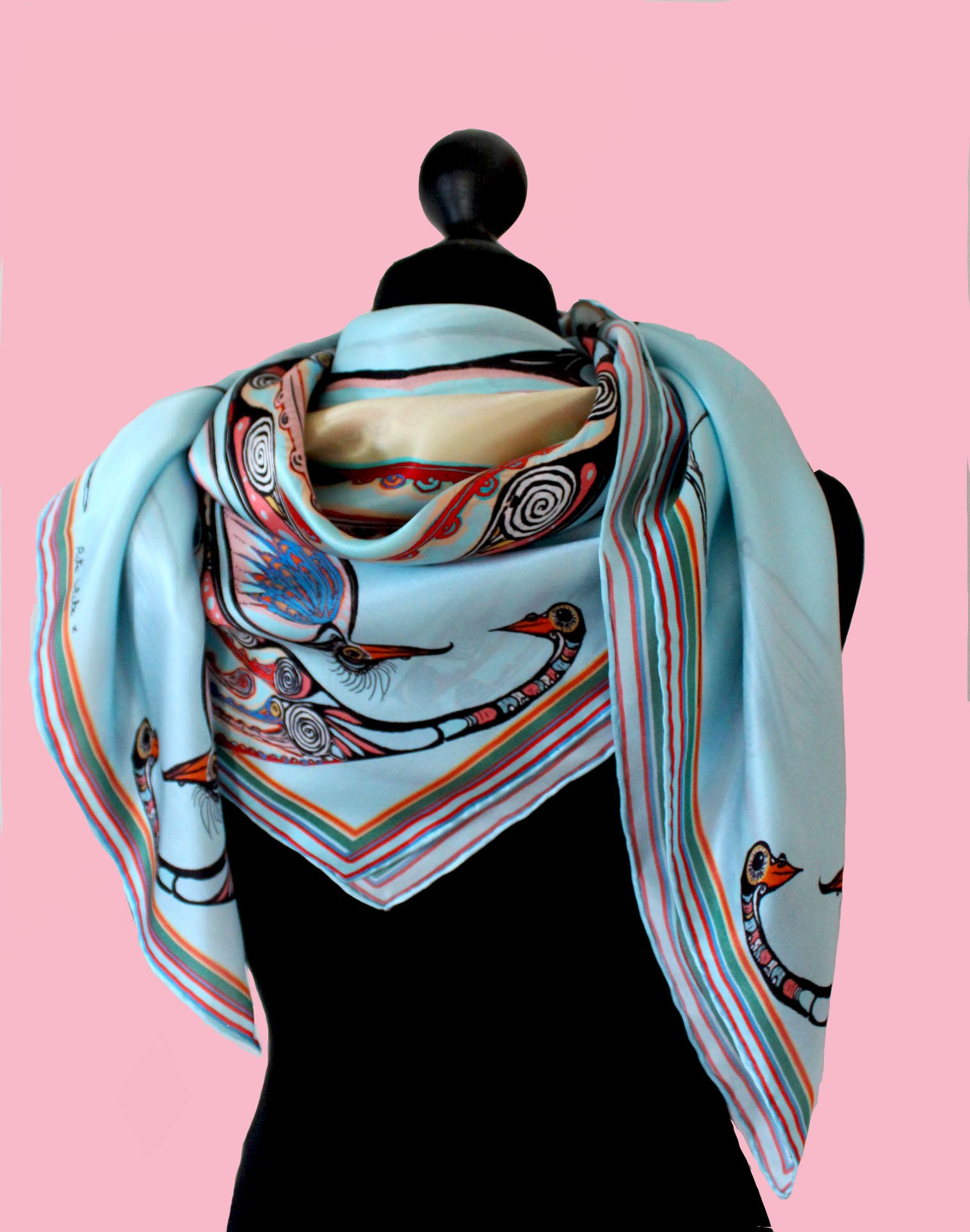 generations birds-silk scarf-rita white irish print designer