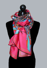 Pink Funky Fly Design,100%Silk Twill, Long Rectangular Scarf