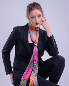 Pink Butterfly Print, Silk Twilly Scarf