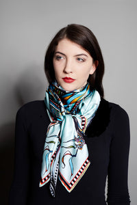 'Birds on the Wheel', Migratory Birds,100% silk scarf, RW01