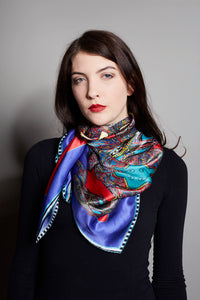 'Butterfly Circles' in Red & Purple, Silk Scarf