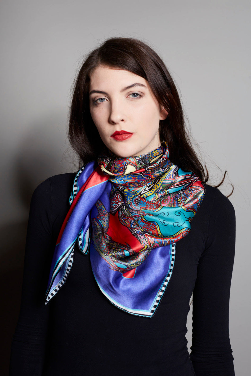'Butterfly Circles' in Red & Purple, Silk Scarf, RW03