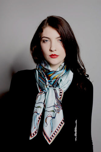 'Birds on the Wheel', 100% silk scarf