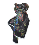 The Proud Peacock in Black. Long Silk Scarves