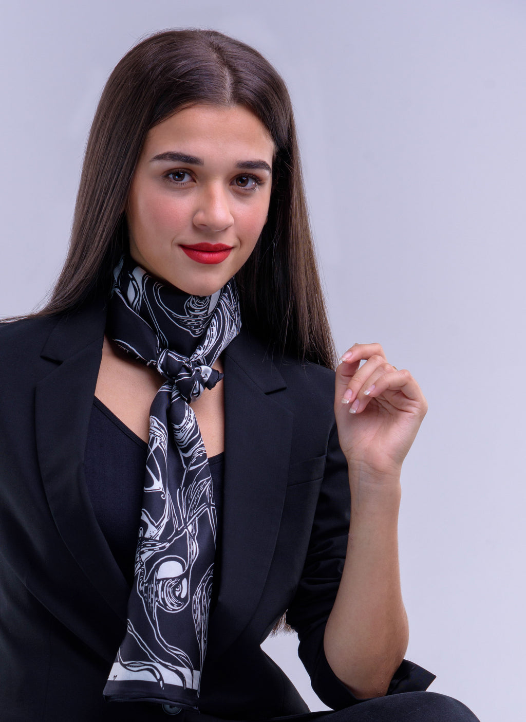 Black & White, Windy Day  Print, Silk Twilly Scarf