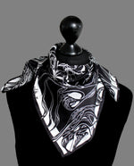 Windy Day, Black and White, 100% Silk Twill, 70cm Square