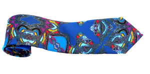 Navy/Blue Horse Corsage Design, 100% Silk Twill Tie